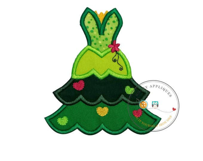 frog princess iron on Christmas tree fabric applique, Machine embroidered no sew frog princess Christmas holiday patch, ready to ship, DIY