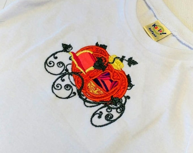 ON SALE NOW Fall pumpkin carriage in training embroidered t shirt-  Autumn tops for infants and toddlers