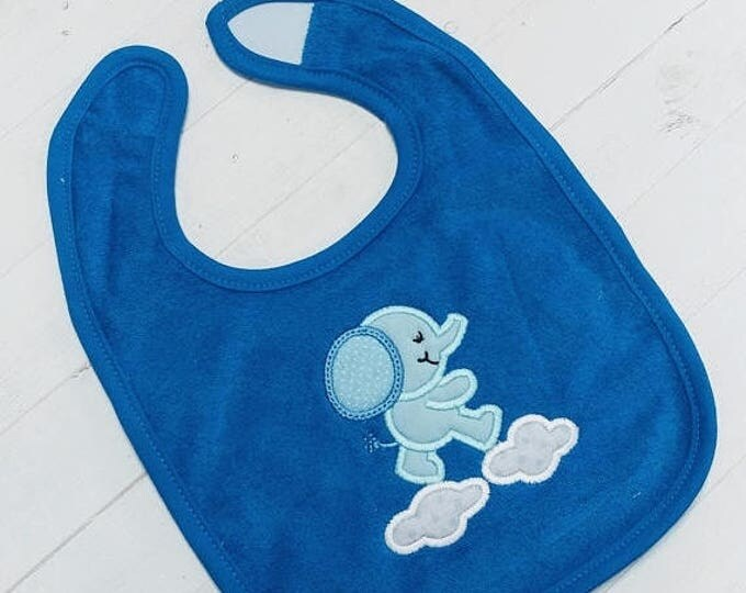ON SALE NOW Sweet elephant blue or pink embroidered terri cloth baby bibs for boy and girls