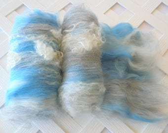 Art Batts, RAINY DAY, Art Batts to Spin, Art Batts to Felt, Soft Art Batts, Spinning Fiber, Spinning Wool, BFL Art Batt, Silk Alpaca, Gift