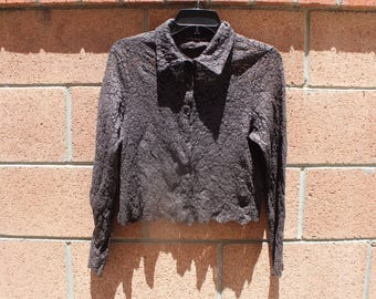 Heavy lace brown  print top size small