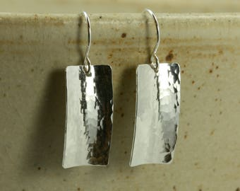 Hammered Silver Curved Rectangle Earrings, Sterling Silver, Hammered Silver Earrings, Hammered Earrings. Curved Silver Earrings, Anticlastic