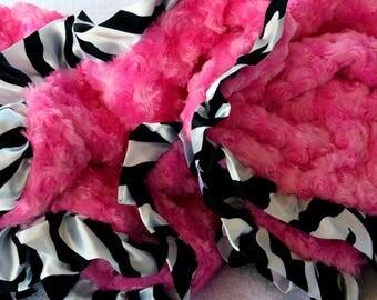 Stroller Size 28x30 Minky Dog Blanket Hot Pinky Zebra