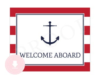 INSTANT DOWNLOAD Nautical Welcome Sign (Red Nautical Party, Nautical Baby Shower, Welcome Aboard Sign, Boys Preppy Nautical Party)