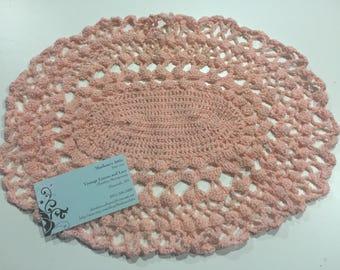 Vintage round Peach Hand crochet doily for crafts, shabby chic, housewares, linen, trim, valentines, by MarlenesAttic