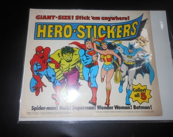 1978 Super Hero Stickers vending machine display sign - Spiderman - Hulk - Wonder Woman - Superman - Batman - Marvel DC Comics 70s vintage