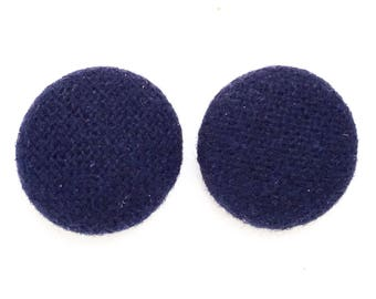 vintage eco friendly navy blue wool fabric covered shank buttons--matcing lot of 2