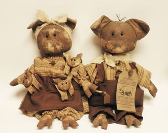 Ma & Pa Hogg with Piglets Primitive Pig Doll Set, Country, Primitive Animals, Country Farmhouse Decor, Barnyard Animals
