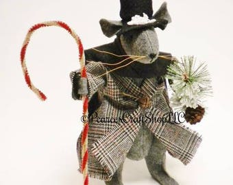 Victorian Christmas Mouse - Made To Order, Primitive Mouse, Christmas Decorations, Christmas Mouse, Primitive Animals