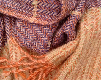 Handwoven Rustic Purple Orange Shawl. Handmade with Handloom. Thick Warm Shawl.Woven Shawl.Winter Shawl. Woman Shawl.Man Shawl.OOAK