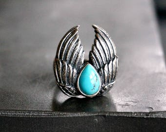 Double Wing Silver Ring Turquoise Ring Boho Ring Bohemian Jewelry