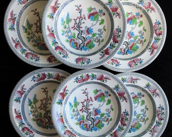"""Wood & Sons England Indian Tree 9"""" Flat Soup Bowls Plates (Set of Six) Excellent Condition"""