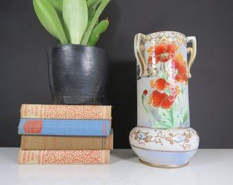 Ornate Pottery Vase // Vintage Elegant Decorative Floral Painted Vase or Urn Chinoiserie Style Gold Orange Green Mantle Decor Victorian