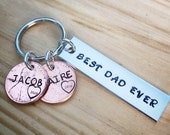Dad Keychain, Fathers Day Keychain, Personalized Keychain, Dad est, Fathers Day Gift, Stamped Penny, Best Dad Ever, Custom Keychain