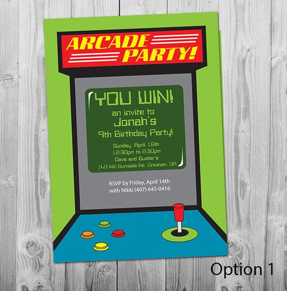 Arcade Invitation Printable Personalized Boys Birthday Party