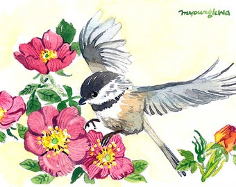 ACEO Limited Edition 2/25 -Joyful landing, Chickadee and wild roses, Bird art print of an original ACEO watercolor painted by Anna Lee