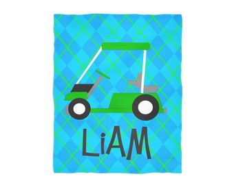 Personalized Throw Blanket- Golf Cart