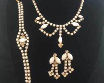 Suite of Milk glass and rhinestone jewelry, Choker, Bracelet,  and  screw on earrings