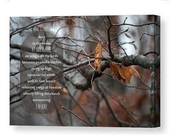 ON SALE Nature Typography Canvas Gallery Wrap, Nature Poem, Home and Office Decor, Large Canvas Wall Art