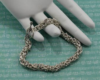 Byzantine Bracelet with Twisted Accent Rings in Sterling Silver or 14K Gold Filled