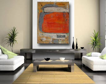 "custom painting 60 x 40 large abstract fine art painting original modern contemporary ""made to order"" orange cream gray hand painted art"