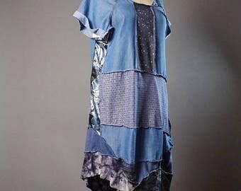 ON SALE Summer Denim Dress - OOAK Summer dress - Street wear - Funky - Casual Summer Dress - Patchwork