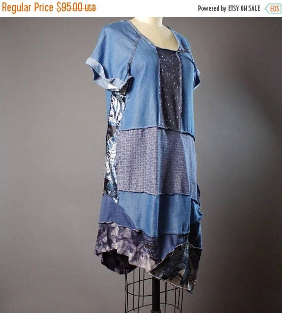 ON SALE Summer Denim Dress - OOAK Summer dress - Street wear - Funky - Casual Summer Dress - Patchwork