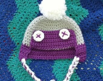 Newborn pom pom hat