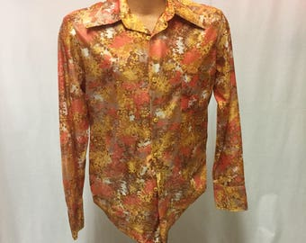 1970's Sears Men's Store Polyester Button-up Shirt