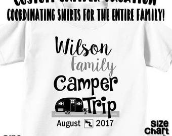 SALE Custom Personalized Camper RV Family Vacation T-shirts Shirt Baby Bodysuit Mom Dad Baby Kids Boy Girl Camper Family Rv Road Trip Shirt
