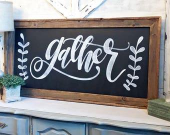 Large GATHER sign, Cursive, Framed Wood Sign, 49 x 25 , Gather Sign, Sign, Industrial Chic