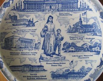 Vintage Oklahoma Souvenir Plate, Vintage Decorative Plate