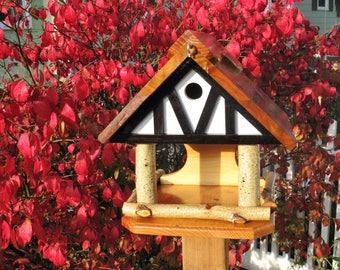 Tudor birdhouse, birdfeeder, old English tudor design, outdoor use, rustic, birch branches, bird feeder house combo, unique, handmade in USA