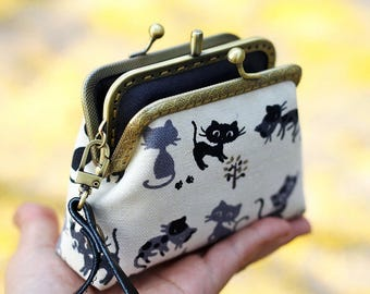 Wristlet clutch two compartment, Cat purse