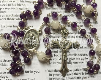 Amethyst gemstone and Snow Quartz Gemstone rosary with silver plated St. Joseph centerpiece and crucifix