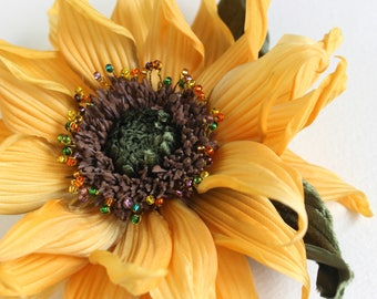 Silk sunflower brooch, sunflower wedding, summer wedding, sunflower jewellery, sunflower pin, fabric sunflower, silk flower corsage