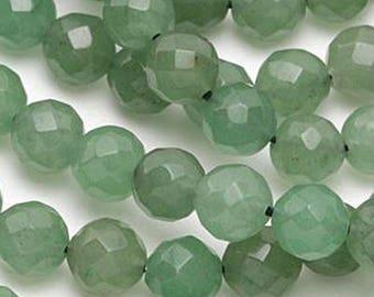 One Strand (48) Faceted Fern Green Averturine Gemstone Round  Beads 8mm