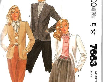 McCall's 7663 Palmer & Pletsch Misses Cardigan Jacket Pattern, 8, 10, 12, 14 And 16, UNCUT