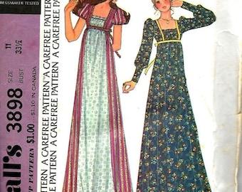 ON SALE VTG McCall's 3898 Junior Size 11, Bust 33 1/2 Empire Waist Dress Pattern