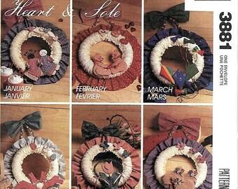 ON SALE McCall's 3881 Craft Pattern, Heart & Sole Seasonal Wreaths,  UNCUT
