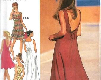 ON SALE Style 2615 Misses Open back, Sleeveless Summer Dress Pattern, Size 8-12