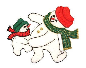 ID #8004 Adult and Child Snowman Snowmen Winter Christmas Iron On Applique Patch