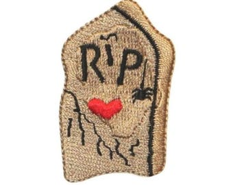 ID 0857A Headstone RIP Patch Tomb Graves Halloween Embroidered Iron On Applique