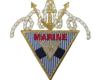 ID 2653 Marine Symbol Patch Anchor Rope Emblem Ship Embroidered Iron On Applique