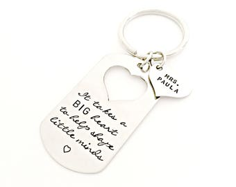 Personalized Teacher Gift - It Takes a Big Heart to Shape Little Minds Key Chain with Heart Name Tag - Appreciation, End of the Year Gift