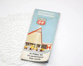 Vintage Phillips 66 Map of Montana & Wyoming