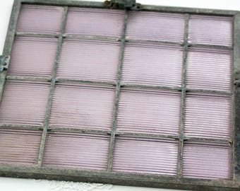 Antique Luxfer Prism Glass Transom Window Panel Architectural Salvage, Sawtooth Luxfer Glass Prism Tiles Purple Amethyst