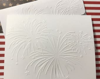 New Year's Card, Fireworks Card,  White Embossed Note Cards, Stationery Set, Independence Day Cards, Patriotic Cards, 4th of July Cards