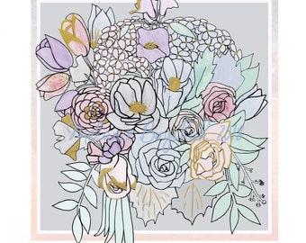 Bouquet 2 - Wall Art -- Flower Art, Floral Print, Marker Art, Nature