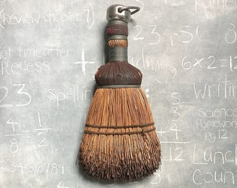 Vintage Whisk Broom Metal Cap and Ring Old Weathered Distressed Farm Country Garage Antique  Dust Broom